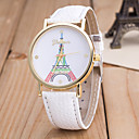 cheap Car Fog Lights-Women's Wrist Watch Quartz Eiffel Tower Casual Watch Leather Band Analog Fashion Colorful Black / White / Blue - Blue Pink Light Green
