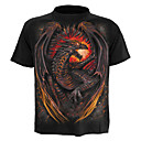 cheap Historical & Vintage Costumes-Men's Street chic / Exaggerated Plus Size Cotton T-shirt - Color Block / Animal Dragon, Print / Short Sleeve