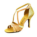 cheap Latin Dance Wear-Women's Latin Shoes / Ballroom Shoes / Salsa Shoes Satin Sandal Buckle / Ribbon Tie Customized Heel Customizable Dance Shoes Yellow /