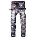 baratos Sandálias Masculinas-Homens Vintage Moda de Rua Chinos Jeans Calças - Listrado Preto & Branco Azul e Branco