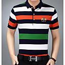 abordables Luces de Techo-Hombre Algodón / Poliéster Camiseta, Escote Redondo A Rayas / Bloques / Manga Corta