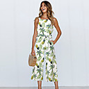 cheap Jewelry Sets-Women's Daily / Holiday Square Neck Blue Green Yellow Wide Leg Jumpsuit, Floral / Fruit Pineapple Lace up M L XL Cotton Sleeveless Summer
