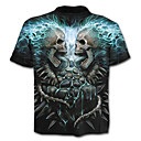 cheap Cell Phone Cases & Screen Protectors-Men's Exaggerated Plus Size Cotton T-shirt - Skull Print / Short Sleeve