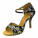 baratos Sapatos de Dança Latina-Mulheres Sapatos de Dança Latina / Sapatos de Salsa Renda Sandália / Salto Presilha / Cadarço de Borracha Salto Personalizado Personalizável Sapatos de Dança Branco / Amarelo Claro / Vermelho / Couro