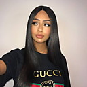 cheap Human Hair Wigs-Remy Human Hair Glueless Lace Front Wig Brazilian Hair Straight Wig Free Part / With Baby Hair 130% 8-24 inch 100% Virgin / With Bleached Knots / Pre-Plucked Natural Black Women's Long Human Hair