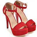 cheap Women's Sandals-Women's Shoes Suede Summer Comfort Sandals Stiletto Heel Peep Toe Buckle Red / Pink / Camel / Wedding / Party & Evening