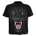 cheap Holiday Party Decorations-Men's Sports Active / Basic Plus Size Cotton Slim T-shirt - Leopard / Animal Print Round Neck / Short Sleeve