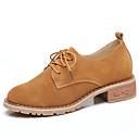 ieftine Oxfords de Damă-Pentru femei Pantofi Piele de Căprioară Primăvară Confortabili Oxfords Blocați călcâiul Vârf rotund Negru / Maro
