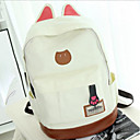 cheap Preschool Backpacks-Women's Bags Canvas School Bag Zipper Fuchsia / Dark Brown / Sky Blue