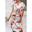 preiswerte Schmuckset-Damen Ausgehen Hülle Kleid Knielang Hohe Taillenlinie / Blumenmuster
