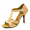 baratos Sapatos de Dança Moderna-Mulheres Sapatos de Dança Latina / Sapatos de Salsa Cetim / Seda Sandália / Salto Presilha / Cadarço de Borracha Salto Personalizado Personalizável Sapatos de Dança Bronze / Amêndoa / Nú / Espetáculo