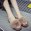 cheap Slippers-Women's Slippers Slippers Ordinary / Casual Mink Fur solid color Shoes