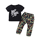זול סטים של ביגוד לבנות-בנות בסיסי כותנה מכנסיים - אחיד דפוס שחור / ספורט