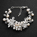 cheap Wedding Garters-Women's Crystal Bracelet - Pearl Flower European, Fashion Bracelet Silver For Wedding / Daily