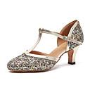 billige Moderne sko-Dame Moderne sko Lakklær Joggesko Paljett Kubansk hæl Dansesko Gull