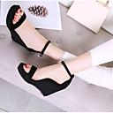 povoljno Ženske sandale-Žene Cipele Mekana koža Ljeto Udobne cipele Sandale Wedge Heel Otvoreno toe Crn / Zelen / Badem