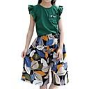 cheap Girls' Clothing Sets-Kids Girls' Basic Daily Print Mesh Short Sleeve Regular Regular Cotton / Polyester Clothing Set Green 7-8 Years(140cm)