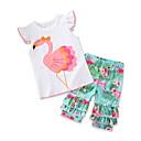 preiswerte Kleider für Babys-Baby Mädchen Freizeit / Aktiv Alltag / Festtage Flamingos Druck Druck Kurzarm Standard Nylon Kleidungs Set Weiß