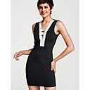 cheap Earrings-Women's Club Street chic Skinny Bodycon Dress - Patchwork Black, Backless Cut Out Mini Deep V