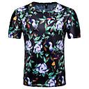 tanie Telefony komórkowe-T-shirt Męskie Bawełna Okrągły dekolt Szczupła - Kwiaty / Krótki rękaw