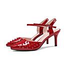 ieftine Adidași de Damă-Pentru femei Pantofi Imitație Piele Vară Confortabili / Balerini Basic Sandale Toc Stilat Alb / Rosu / Albastru