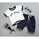 ieftine Set Îmbrăcăminte Băieți Bebeluși-Bebelus Fete Negru & Roșu Mată / Geometric Manșon scurt Set Îmbrăcăminte