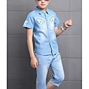 זול סטים של ביגוד לבנים-סט של בגדים כותנה שרוולים קצרים גיאומטרי בסיסי / סגנון רחוב בנים ילדים