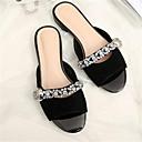 ieftine Sandale de Damă-Pentru femei Pantofi Piele de Căprioară Vară Confortabili Sandale Toc Jos Vârf deschis Piatră Semiprețioasă Negru / Roz