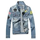 hesapli dövme çıkartma-Erkek Gömlek Yaka Geometrik Kurtki jeansowe / Uzun Kollu