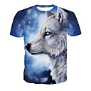cheap Human Hair Weaves-Men's Club Basic / Street chic T-shirt - Color Block / Animal Wolf, Print Round Neck / Short Sleeve
