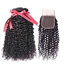 hesapli Ombre Ek Saçlar-Düz Brezilya Saçı Bukle İnsan saç örgüleri / Gerçek Saç Postişleri / Kapanması Saç Atkı Kapatma ile 3 Demetleri 8-22 inç İnsan saç örgüleri 4x4 Kapanış En iyi kalite / Büyük indirim / Siyahi Kadınlar