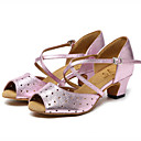 cheap Latin Shoes-Women's Latin Shoes Cowhide Sandal Sided Hollow Out Thick Heel Dance Shoes Gold / Pink