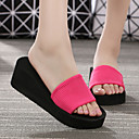 hesapli Kadın Terlikleri-Kadın's Terlik & Flip-flops Dolgu Topuk Açık Uçlu Kurdele Bağcık Elastik Kumaş Temel Topuklu İlkbahar yaz Siyah / Yeşil / Fuşya