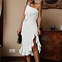 cheap Facial Care Devices-women's slim sheath dress - solid colored asymmetrical one shoulder