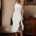 cheap Wedding Wraps-women's slim sheath dress - solid colored asymmetrical one shoulder