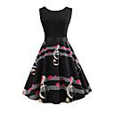 cheap Shoulder Bags-Women's Daily / Going out Vintage Slim Swing Dress - Geometric Spring Cotton Black L XL XXL