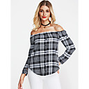 cheap Cell Phone Cases & Screen Protectors-Women's Going out Holiday Street chic Cotton Shirt - Plaid Off Shoulder
