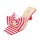 זול נעלי עקב לנשים-בגדי ריקוד נשים נעליים PU קיץ רצועה אחורית סנדלים עקב רחב פפיון אדום / כחול / שקד / פסים