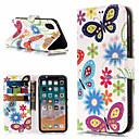 tanie Etui na telefony & Folie ochronne-Kılıf Na Jabłko iPhone X / iPhone 8 Plus Portfel / Etui na karty / Z podpórką Pełne etui Motyl / Kwiat Twardość Skóra PU na iPhone X / iPhone 8 Plus / iPhone 8