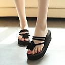 ieftine Flip-Flops de Damă-Pentru femei Pantofi PU Vară Confortabili Papuci & Flip-flops Toc Platformă Vârf deschis Negru / Maro / Rosu