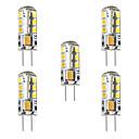 abordables Ampoules Maïs LED-BRELONG® 5pcs 3 W 250 lm G4 Ampoules Maïs LED / LED à Double Broches T 24 Perles LED SMD 2835 Décorative Blanc Chaud / Blanc 12 V