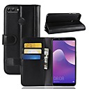 cheap Memory Cards-Case For Huawei Huawei Y9 (2018)(Enjoy 8 Plus) / Huawei Y7 Prime (2018) Wallet / Card Holder / with Stand Full Body Cases Solid Colored Hard Genuine Leather for Huawei Y9 (2018)(Enjoy 8 Plus