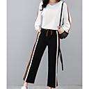 baratos Outros Pincéis-Mulheres Tamanhos Grandes Activo Manga Alargamento Algodão Camiseta / Conjunto Listrado Calça / Belas Stripe