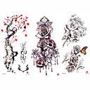 Недорогие Временные татуировки-3 pcs Временные татуировки Тату с цветами / Романтическая серия Гладкий стикер / Безопасность Искусство тела рука / плечо / Временные татуировки в стиле деколь