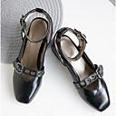 baratos Mocassins Femininos-Mulheres Sapatos Couro Ecológico Primavera Verão Chanel / MaryJane Sapatos de Barco Salto de bloco Preto / Bege