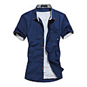 cheap Men's Sneakers-Men's Plus Size Cotton Slim Shirt - Solid Colored Print Button Down Collar / Short Sleeve