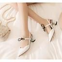 povoljno Ženske sandale-Žene Cipele Ovčja koža Ljeto Udobne cipele Sandale Kockasta potpetica Obala / Crn