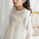tanie Sukienki dla dziewczynek-Dzieci Dla dziewczynek Aktywny / Słodkie Solidne kolory Długi rękaw Sukienka Biały 140