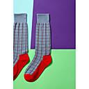 זול אביזרים לנעליים-זוג 1 בגדי ריקוד נשים גרביים Standard משובץ מקל מתחים Sweet Style כותנה EU36-EU42