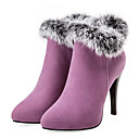 cheap Women's Boots-Women's Shoes Suede Fall & Winter Fashion Boots / Bootie Boots Stiletto Heel Pointed Toe Booties / Ankle Boots Feather Black / Purple / Red / Wedding / Party & Evening